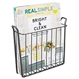 mDesign Decorative Modern Metal Wall Mount Magazine Holder, Organizer - Space Saving Compact Rack for Magazines, Books, Newspapers, Tablets, Laptops in Bathroom, Family Room, Office - Graphite Gray