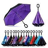 Paraguas de doble capa invertido Jooayou con mango en forma de C, plegable,...