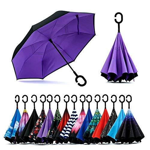 Paraguas de doble capa invertido Jooayou con mango en forma de C,...