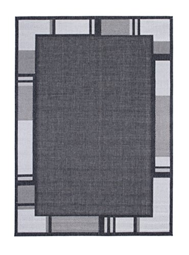 Andiamo 1100379 Web / Bordürenteppich Louisville Bordürenmuster, 160 x 230 cm, anthrazit / silber