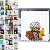 Sanilo® Duschvorhang, viele schöne Duschvorhänge zur Auswahl, hochwertige Qualität, inkl. 12 Ringe, wasserdicht, Anti-Schimmel-Effekt (180 x 200 cm, Shower Cat)