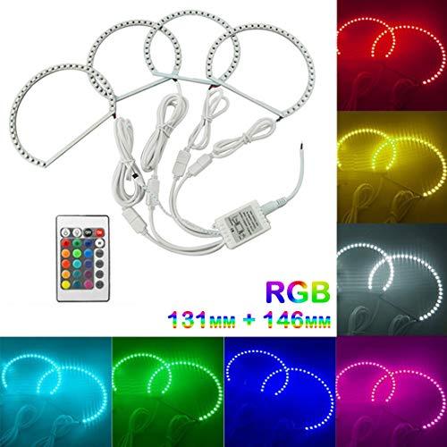 VIGORFLYRUN PARTS LTD 4pcs RGB Angel Eyes Halo Anello Occhio di Angelo Faro con Telecomando per E36 E38 E39 E46, 2X 146 mm + 2X 131 mm Multi-Color 5050 Flash LED
