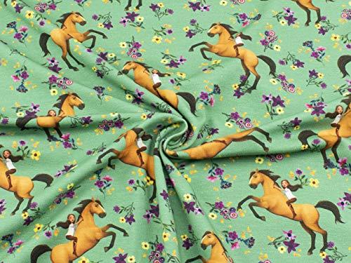 Spirit Stoff auf Baumwoll-Jersey im Digitaldruck mit Lucky und Spirit im Blumenmeer auf mintgrün aus 95% Baumwolle und 5% Elasthan mit 200g/m² als Stoff-Meterware ab 25 cm