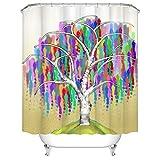Baum des Lebens Duschvorhang Natur Pflanze Baum mit bunten Zweigen Badvorhang Unisex Stoff Vorhang für Badezimmer Dekor mit Haken 183 x 183 cm