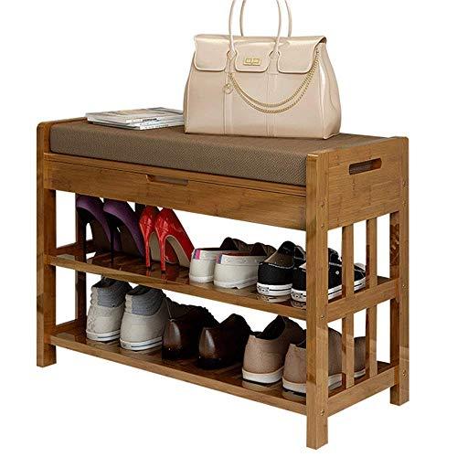 HLL Zapatero de madera maciza para cambiar, taburete de almacenamiento, puerta multifunción, 70 x 30 x 50 cm, 70 x 30 x 50 cm