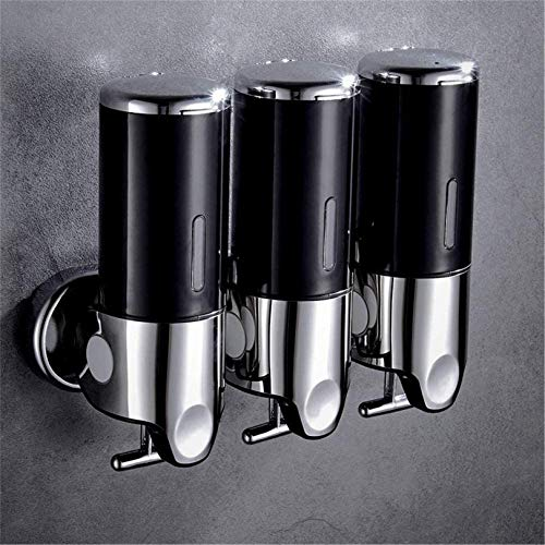 Hendalino Triple 3 Manual Ducha Dispensadors Mural Sin Taladrar, 3X 500ml Tres Shampoo y Acondicionador Champu Dispensador Jabon Pared para Baño Home Hotel T-Bar Metal Bomba 3 Apartados,Negro