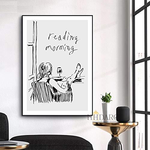 MXK Impresiones en Lienzo Pinturas Carteles Arte Lectura Morming Trazos Simples Negro Blanco ilustración Pared decoración del hogar 50x70cm sin Marco