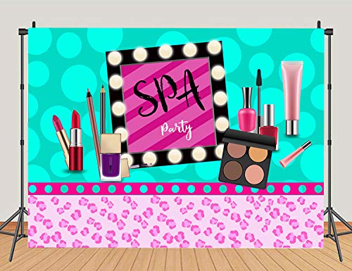 Spa Party Theme Backdrops Blue and Pink Make up Girls Women Birthday Party Photography Background Sweet 16th Princess Photo Studio Props Banner Decoration 5x3ft