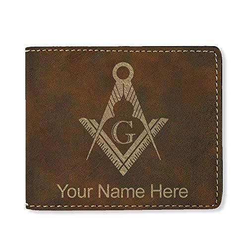 LaserGram Bi-Fold Wallet, Freemason Symbol, Personalized Engraving Included (Rustic)