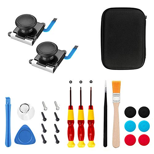 Joy-Con Controller Sticks fur Nintendo Switch - 25in1 Ersatz Reparatur Kit, 3D Analog Daumen Joystick Sensor mit Schwarz Hart Tasche, Tri-Wing Schraubendreher-Werkzeug, Thumbstick-Kappen
