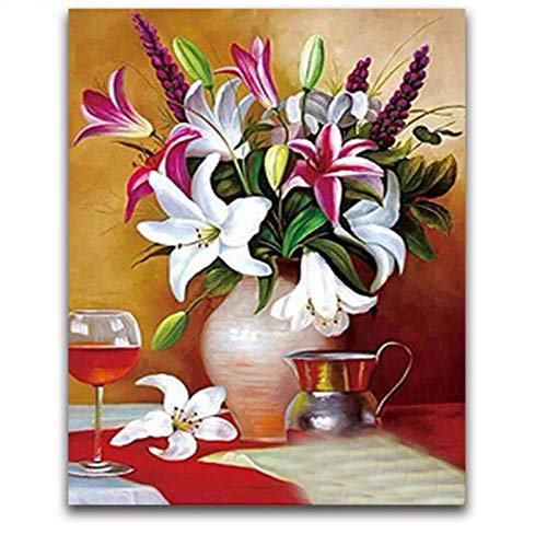 MOL Ronde diamant mozaïek kruissteek 5d diamant borduurwerk lelie bloemenvaas DIY diamant schilderij bloemen mozaïekafbeelding pasta 45x60cm