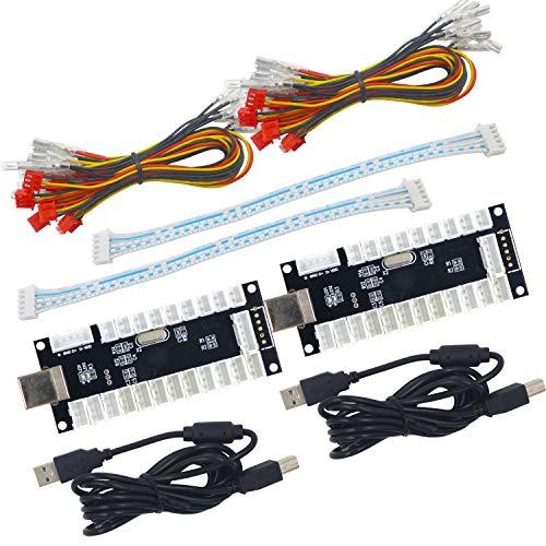 SJ@JX 2 Player LED USB Encoder zu Arcade Joystick und LED Arcade Tasten für PC, MAME und Raspberry Pi SANWA