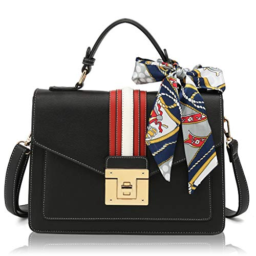 Scarleton Medium Top Handle Satchel Handbag for Women, Vegan Leather Crossbody Bag, Shoulder Bag, Purse H206501, Black