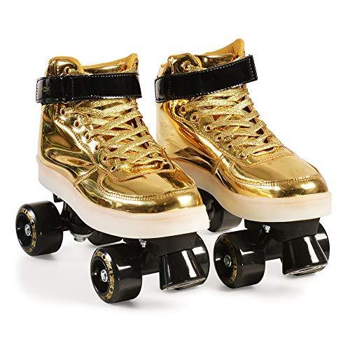 Byox Leuchtende Kinder Rollschuhe Roller Skates Golden 33-34