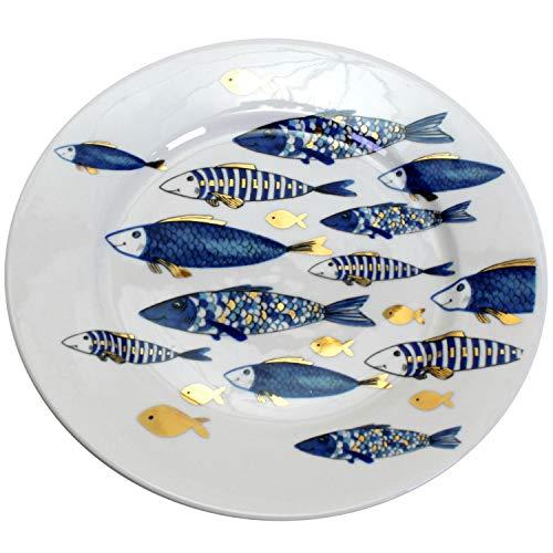 Desserteller Blue Fish Fisch Blau Gold 21cm Kuchenteller Teller Geschirr Porzellan Kommunion Konfirmation Taufe