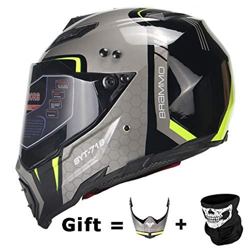 OLEEKA Motocicleta Casco Hombres Cara Completa Casco Moto Montar Material de ABS Aventura Motocross Casco Moto Certificación DOT
