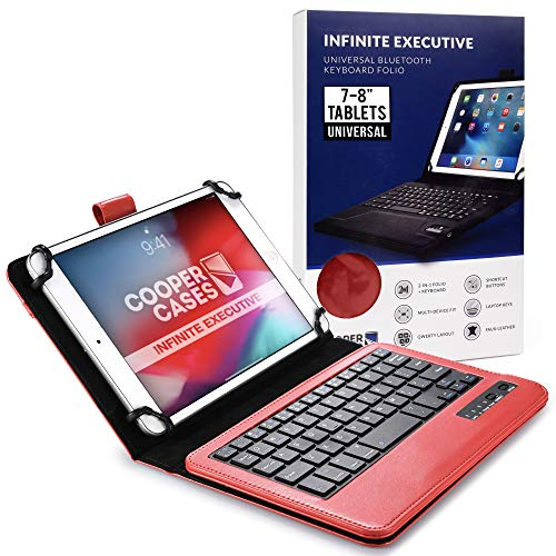 Cooper Infinite Executive Keyboard Case for 7-8 inch Tablets | Universal Fit | 2-in-1 Bluetooth Wireless Keyboard & Leather Folio Cover (Red)