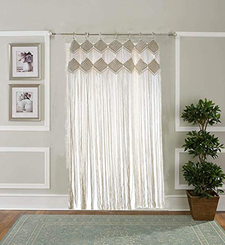 """Hysunland Bohemian Macrame Wall Hangings Woven Panel with Loops Macrame Curtain for Hallway/Doorway, 43.3"""" W X 82.6"""" L"""