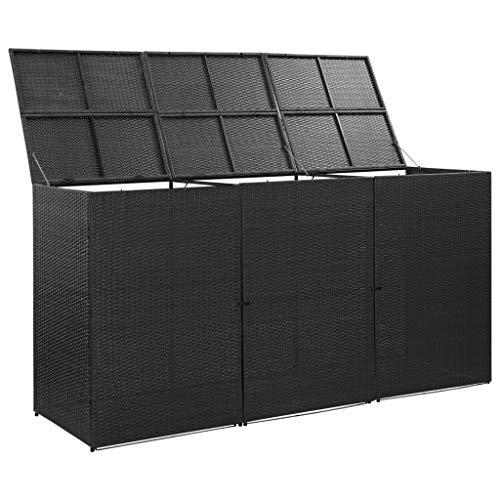 Extaum 3er Mülltonnenbox Rattan für 1/3/4 Tonnen, Mülltonnenabdeckung Mülltonnenverkleidung Gartenbox für Mülltonne Müllbox, 229x78x120 cm Schwarz