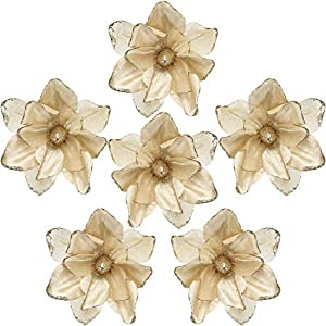 Sea Team 6-Pack Artificial Glitter Poinsettia, Magnolia Flower Sticks, Christmas Flower Ornaments, Floral Stems, Picks, Branches, Xmas Tree Decorations for Holiday, Party, Wedding, 10-inch, Champagne