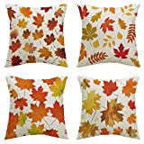 Lazzboy Store 4pc Halloween Autumn Maple Leaf Pattern Pillow Cover Pillowcase Stück Kissenbezug Herbst Ahornblatt Muster Dekorative Kissenhülle Werfen Sie Kissenbezüge 45x45 cm (B)