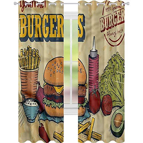 YUAZHOQI - Cortinas decorativas para hamburguesas (2 paneles)