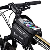 West Biking Bike Frame Bag, Bicycle Phone Mount, Waterproof Cycling Front Top Tube Pouch, Frame Phone Holder Bag, Handlebar/Crossbar Bag, Sensitive Touchscreen and Sun Visor for Phone Below 6.5 Inch