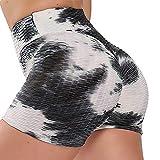 STARBILD Shorts de Fitness Moda Mallas Pántalones Cortos Deportivos de Skinny Elástico Alta Cintura para Mujer Yoga Gimnasio Negro+Blanco Medium