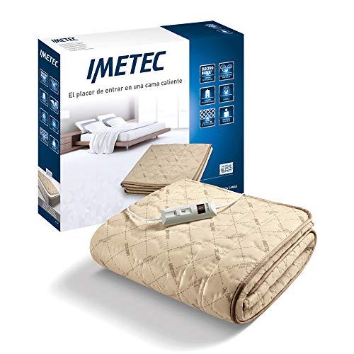 Imetec Relaxy - Calientacamas Individual, Controlador con 2 Niveles Temperaturas, Tejido Acolchado, Lavable a Mano y en Lavadora a 40°, Sistema de Protección, 150 x 80 cm