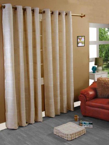 Homescapes handgewobener Vorhang Rajput im 2er Set Ösenvorhang 170 x 230 cm (Breite x Länge) Dekoschal in RIPP-Optik aus 100prozent Reiner Baumwolle in Natur
