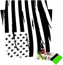 AlphaVinyl Distressed American Flag Freedom USA Jeep Wrangler JK Hood Blackout Decal Fits 2007-2016 w/Install kit