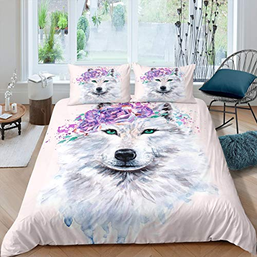 3D Wolf Bedding Set, with Green Eyes Wild Animal Blooming...