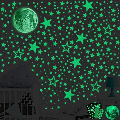 SaiXuan Leuchtsticker Wandtattoo,435pcs Leuchtsterne Punkten und Mond Wandsticker Wandaufkleber,DIY Baby Kinder oder Schlafzimmer Mond Wanddeko Aufkleber