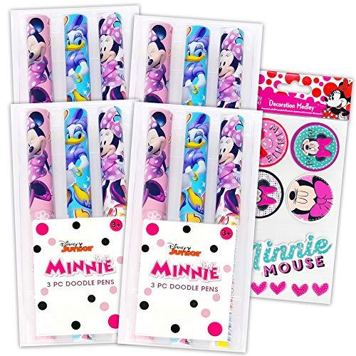 Disney Minnie Schreibwaren-Set Minnie Maus Stifte für Erwachsene Kinder – 12 Stück Minnie Mouse Stifte für Damen Herren Minnie Mouse Party Supplies mit Minnie Mouse Aufkleber (Minnie Mouse Bürobedarf)