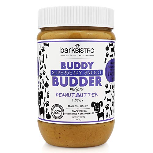 Bark Bistro Company Superberry Snoot 100% Natural Dog Peanut Butter Healthy Peanut Butter Dog Treats Stuff in Toy Dog Pill Pocket Made in USA 17oz jar