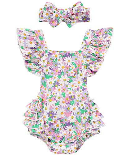 Baby Girls Cotton Vintage Floral Romper Set Ruffle Sleeve Solid Color Onesie with Headband (Flowers-Purple, 3-6 Months)