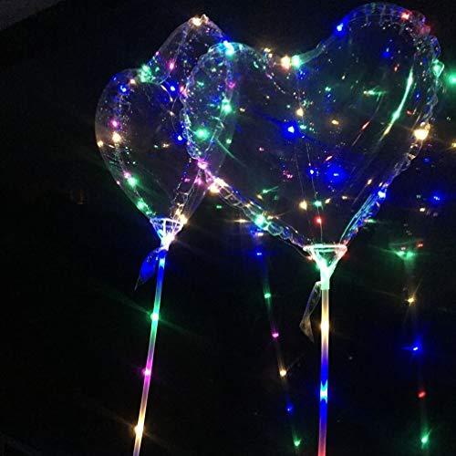 6 sets globo led globo de burbujas en forma de corazón brillante transparente con luz led para fiesta de cumpleaños de navidad (color de mango aleatorio)