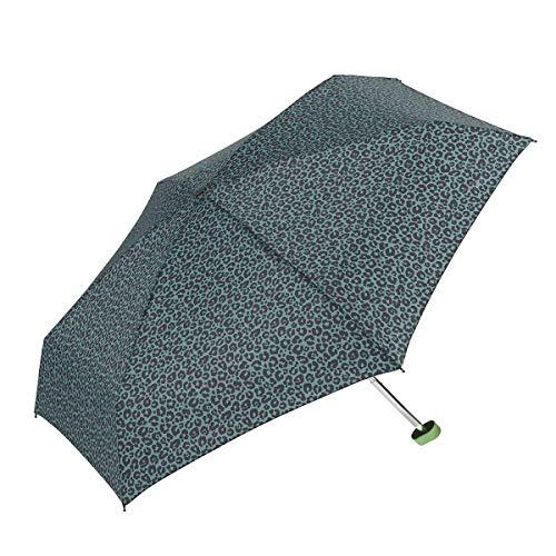 GOTTA Paraguas Plegable de Mujer. Antiviento, Pequeño, Ligero y Manual. Puño Plano de plástico. Tejido Estampado Animal Print - Verde Petroleo-Negro