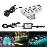 1x QACA SET LED Unterwasserlicht Unterwasserbeleuchtung Kaltweiß 6000K-6500K Unterwasserstrahler Teichbeleuchtung Unterwasserleuchte Wasserdicht IP68 12W 169x66x26mm