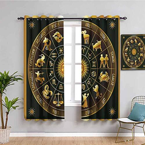 Astrología Farmhouse cortina rueda signos astrológicos del zodiaco en círculo con la imagen de la luna del sol en círculo muebles de protección oscuro verde militar oro W52 x L63 pulgadas