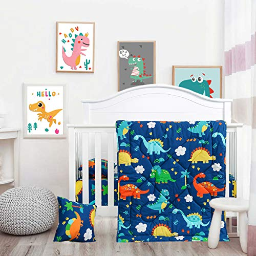 Cloele Toddler Bedding Set-100% Cotton Standard Size 3 Piece Crib Bedding Set,Soft Toddler Bedding-Includes Toddler Pillowcase,Crib Sheet,Baby Blanket-Dinosaur Design for Boys and Girls