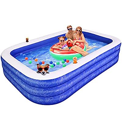 """Inflatable Swimming Pool for Kids, AirExpect 120""""x72""""x22"""" Full-Sized Family Swim & Ball Pool with Built-in Cup Holders for 2 3 4 5 Years Old Kids and Adults, Summer Swim Center for Garden and Backyard"""
