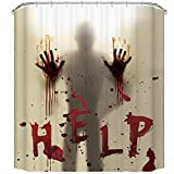 JOOCAR Design Duschvorhang, Help Me with Bloody Hands for Halloween Decorations, Waterproof Cloth Fabric Bathroom Decor Set with Hooks