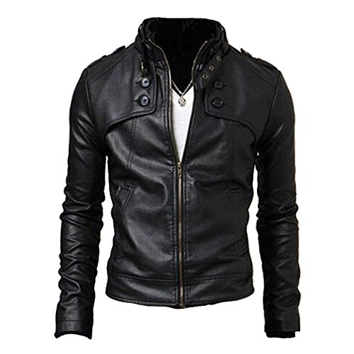 Men's Vintage Faux PU Leather Jacket Stand Up Collar Slim Fit Motorcycle Coat Black