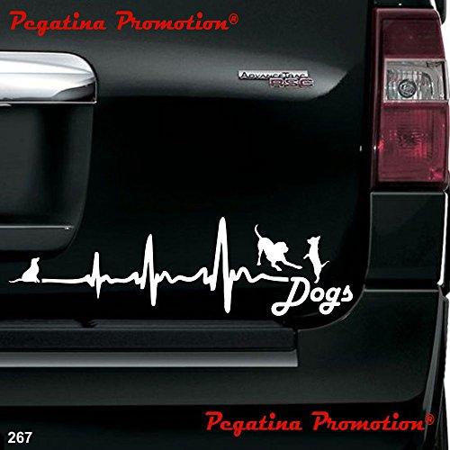 Herzschlag Dogs Hunde Hobby Aufkleber, ca.20 cm breite Hobbys Auto Autoaufkleber Sticker Heckscheibe Lack Vinyl Sport Sportaufkleber Auto-Aufkleber von Pegatina Promotion® Aufkleber mit Verklebehilfe