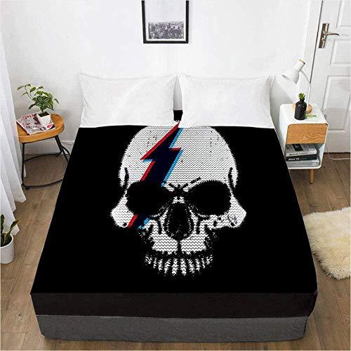 Bedclothes-Blanket sábanas Ajustables,Impresión Digital 3D Sábana Colchón Cubierta Protectora Ropa de Cama de calavera-150x200_21