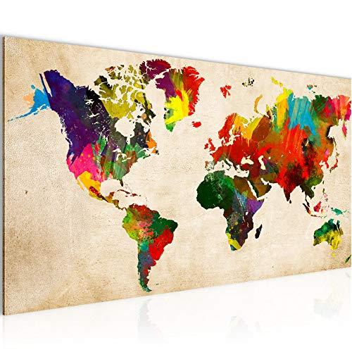 Bilder Weltkarte World Map Wandbild Vlies - Leinwand Bild XXL Format Wandbilder Wohnzimmer Wohnung Deko Kunstdrucke Bunt 1 Teilig - MADE IN GERMANY - Fertig zum Aufhängen 105112a