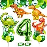 Dino Luftballons Geburtstag 4 Jahr, 100cm Riesenzahl Folienballon 4, Geburtstagsdeko Dinosaurier Luftballon Set mit 4PCS Dinosaurier Folienballon, 24PCS Latex Konfetti Ballons und 2PCS Bänder (Grün)