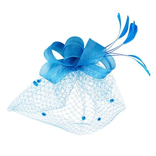 BXT Blumen Fascinator, Braut Patei Kopfschmuck mit Schleier, Garn Braut Haarschmuck, Hochzeit Haar Clip Hut Stirnband, Haarclip Hairpin Haarband für Party Kirche Hochzeit, Blau, Einheitsgröße