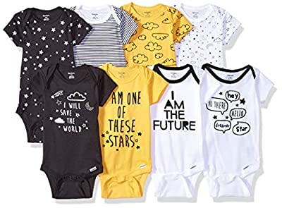 Gerber Baby Boys' 8 Pack Short-Sleeve Onesies Bodysuits, Star, 12 Months